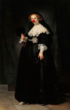 Rembrandt's Portret van Oopjen Coppit met clowns neus