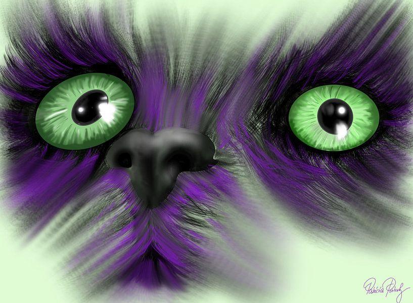 Katze mit magischen grünen Augen von Patricia Piotrak