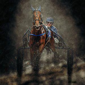 Kortebaandraverij paard en ruiter van