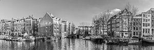 Oude schans Amsterdam centrum, Nederland. Zwart wit van
