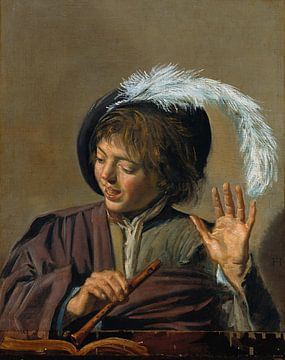 Frans Hals . Singing boy with flute