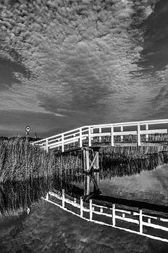 Bruggetje achter de  Friese IJsselmeerdijk ter hoogte van Workum in zwartwit von Harrie Muis