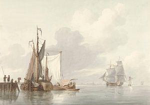 Flussansicht mit vertäuten Schiffen, Martinus Schouman