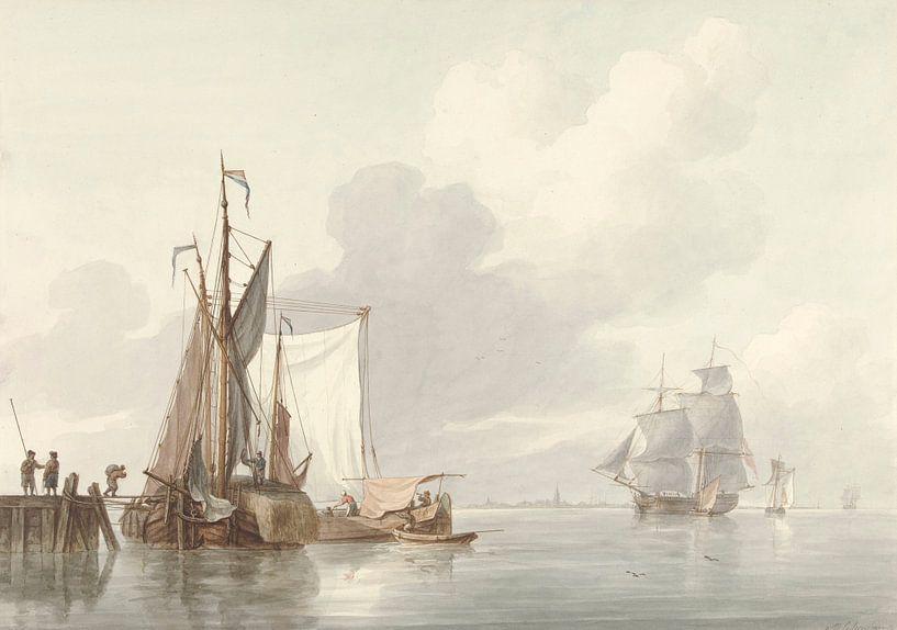 Flussansicht mit vertäuten Schiffen, Martinus Schouman von Meesterlijcke Meesters