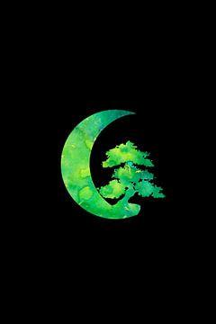 Croissant vert et arbre Bonsaï sur ZeichenbloQ