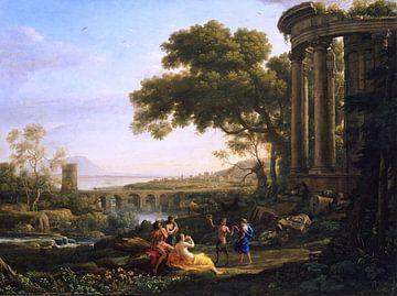 Claude Lorrain. Landschaft mit Nymphe und Satyr Tanzen