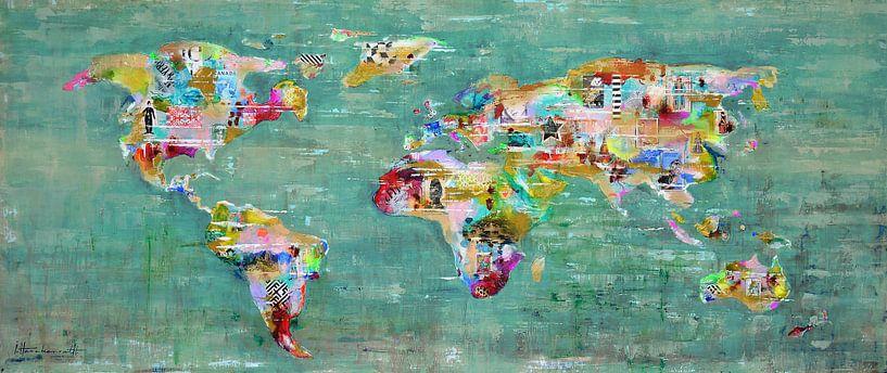 World Art Map Green von Atelier Paint-Ing