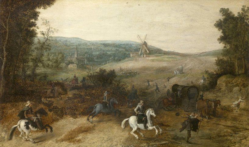 Landschaft mit Reisenden, von Räubern ausgeraubt, Sebastiaen Vrancx von Meesterlijcke Meesters
