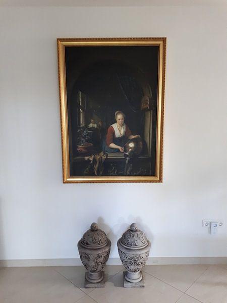 Kundenfoto: Dienstmädchen am Fenster, Gerard Dou, auf leinwand