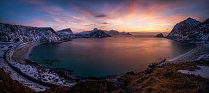 Haukland sunset panorama