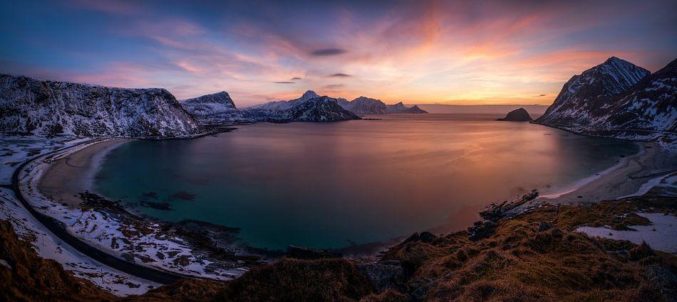 Haukland sunset panorama van Wojciech Kruczynski