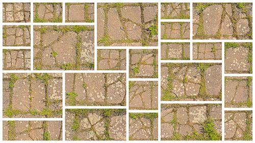 Collage van gebarsten tegels