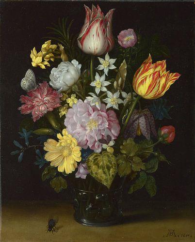 Bloemen in een glazen vaas, Ambrosius Bosschaert de Oude van Meesterlijcke Meesters