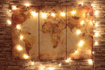 Wereldkunst aan de Muur van World Maps