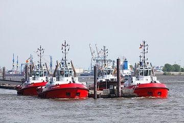 Sleepbootstation in de haven, Altona, Hamburg, Noord-Duitsland, Europa van Torsten Krüger