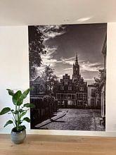 Klantfoto: Havik en Bloemendalse Binnenpoort historisch Amersfoort zwartwit van Watze D. de Haan, als naadloos behang
