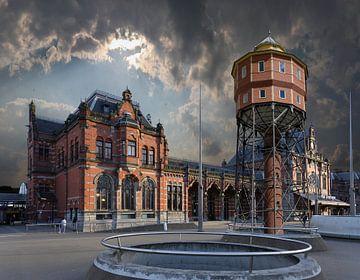 Station en Watertoren De Bovenkamer Groningen van Aad Trompert