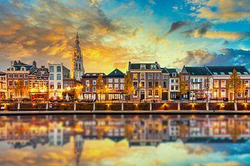 Zonsopgang in de haven van Breda van Martijn Mureau
