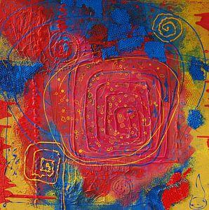 Kreise und Vierecke auf rotgelben Hintergrund von Klaus Heidecker