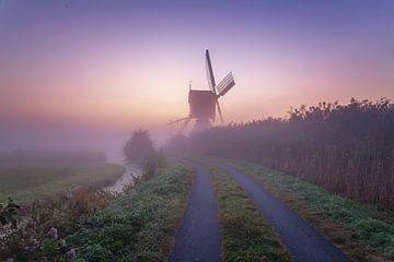 Mistige nederlandse zonsopkomst van Gijs Koole