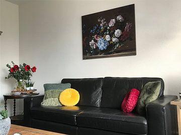 Kundenfoto: Stillleben mit Hyazinthen, Rosen und anderen Blumen in einer Silbervase, Jean- Baptiste Monnoyer