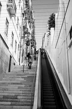Zwart-Wit foto van roltrap in open lucht: Escadinha da saúde Lissabon van Daan Duvillier