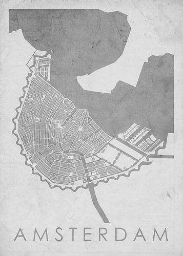 Kaart Amsterdam 1700 Vintage grijs