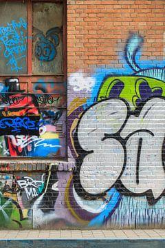 Bakstenen muur met levendige graffiti van Tony Vingerhoets