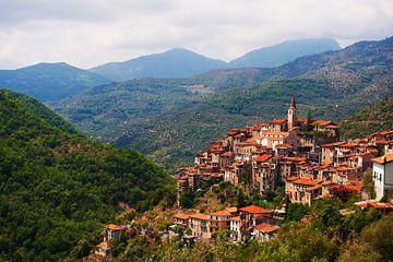 Italiaans bergdorp tussen de bergen . van Brian Morgan