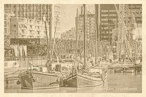 Vieux carte postale Leuvehaven Rotterdam sur Frans Blok
