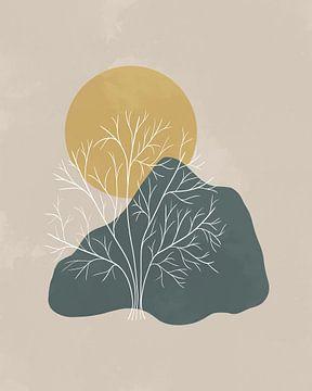 Minimalistische Landschaft mit einem Baum, Bergen und eine goldenen Sonne von Tanja Udelhofen