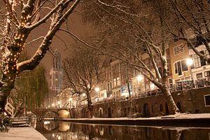 Winternacht aan de Oudegracht van