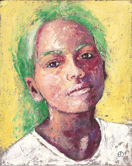 Bisque O'Ruby - portret van een meisje van Anouk Maria van Deursen