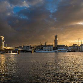 Stadtfront von Kampen in der goldenen Stunde von Fotografie Ronald