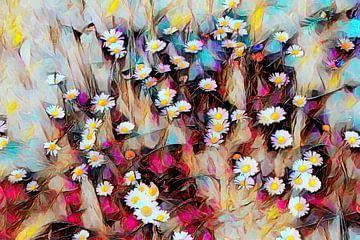 Madeliefjes in een kleurrijke weide van Patricia Piotrak