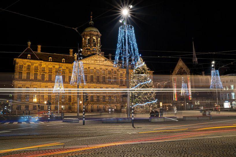 Kerstsfeer op 'de Dam' in Amsterdam van Fotografiecor .nl