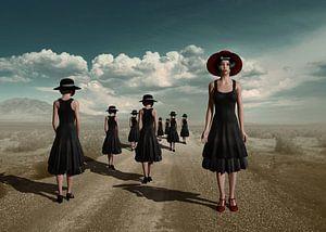 Meisjes in zwarte jurken