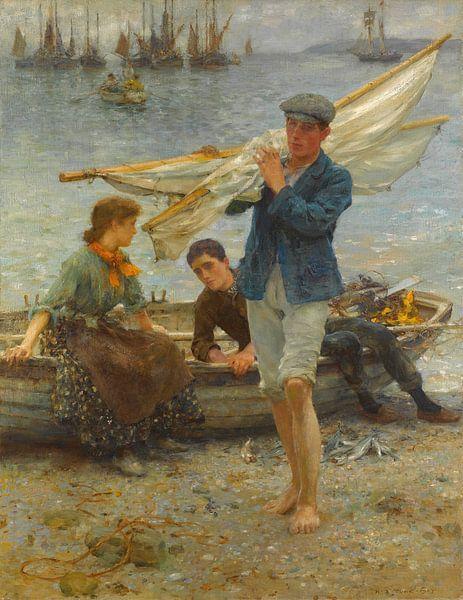 Rückkehr vom Fischen, Henry Scott Tuke von Meesterlijcke Meesters
