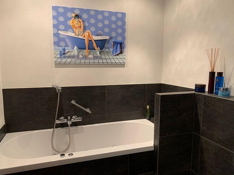 Kundenfoto: Ein sexy blaues Badezimmer von Monika Jüngling, auf leinwand