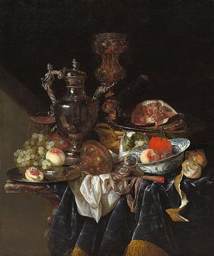 Silberweinkrug, Schinken und Obst, Abraham van Beyeren