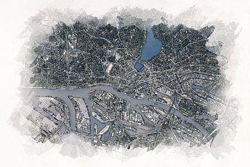 Karte von Hamburg von Aquarel Creative Design
