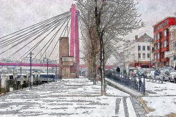 Winterbeeld met Willemsbrug von