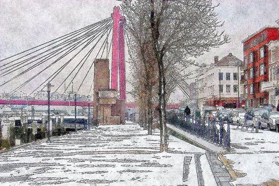 Winterbeeld met Willemsbrug