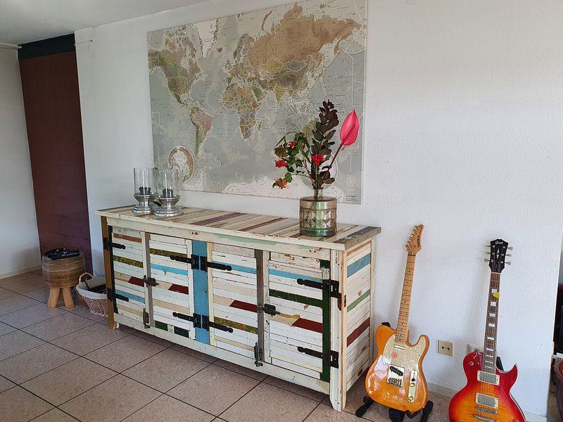 """Kundenfoto: Planisphère, Couleurs """"Antiques"""" von MAPOM Geoatlas, auf leinwand"""