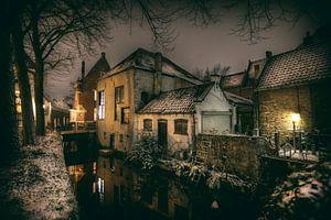 Historische centrum van Gouda in de sneeuw van Eus Driessen