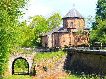 Oud kerkje met spoortunneltje van Roel de Vries