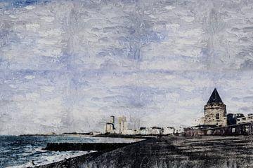 Vlissingen met de  Gevangentoren, de boulevard en de Westerschelde  (kunst) van Art by Jeronimo