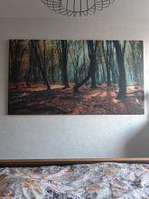 Klantfoto: Bos met de dansende bomen . Speulderbos. van Saskia Dingemans, op canvas