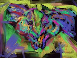 Pferde zusammen in Farbe von
