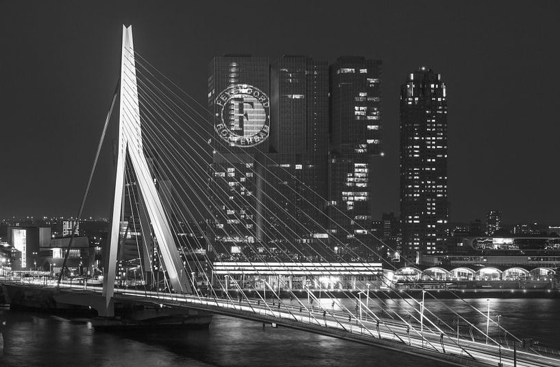 De Erasmusbrug in Rotterdam (Feyenoord Editie) van MS Fotografie | Marc van der Stelt